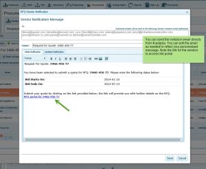 Personalize email to invite vendors to bid