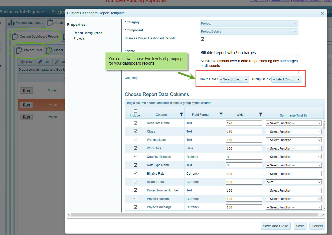 Custom project management dashboard reporting