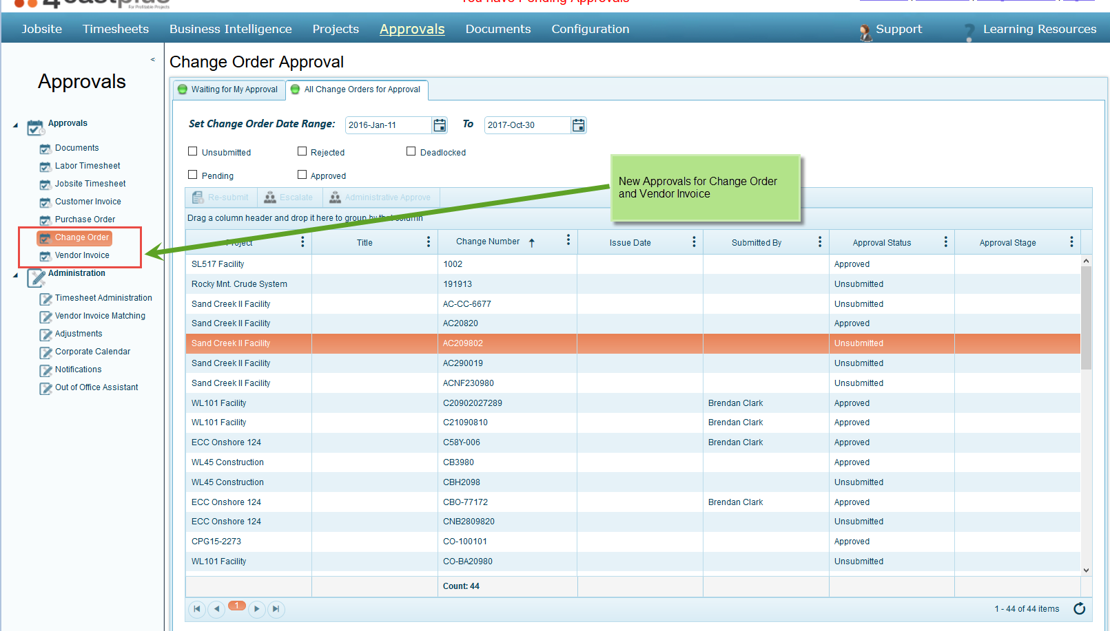 Change Order and Vendor Invoice Approvals Workflows
