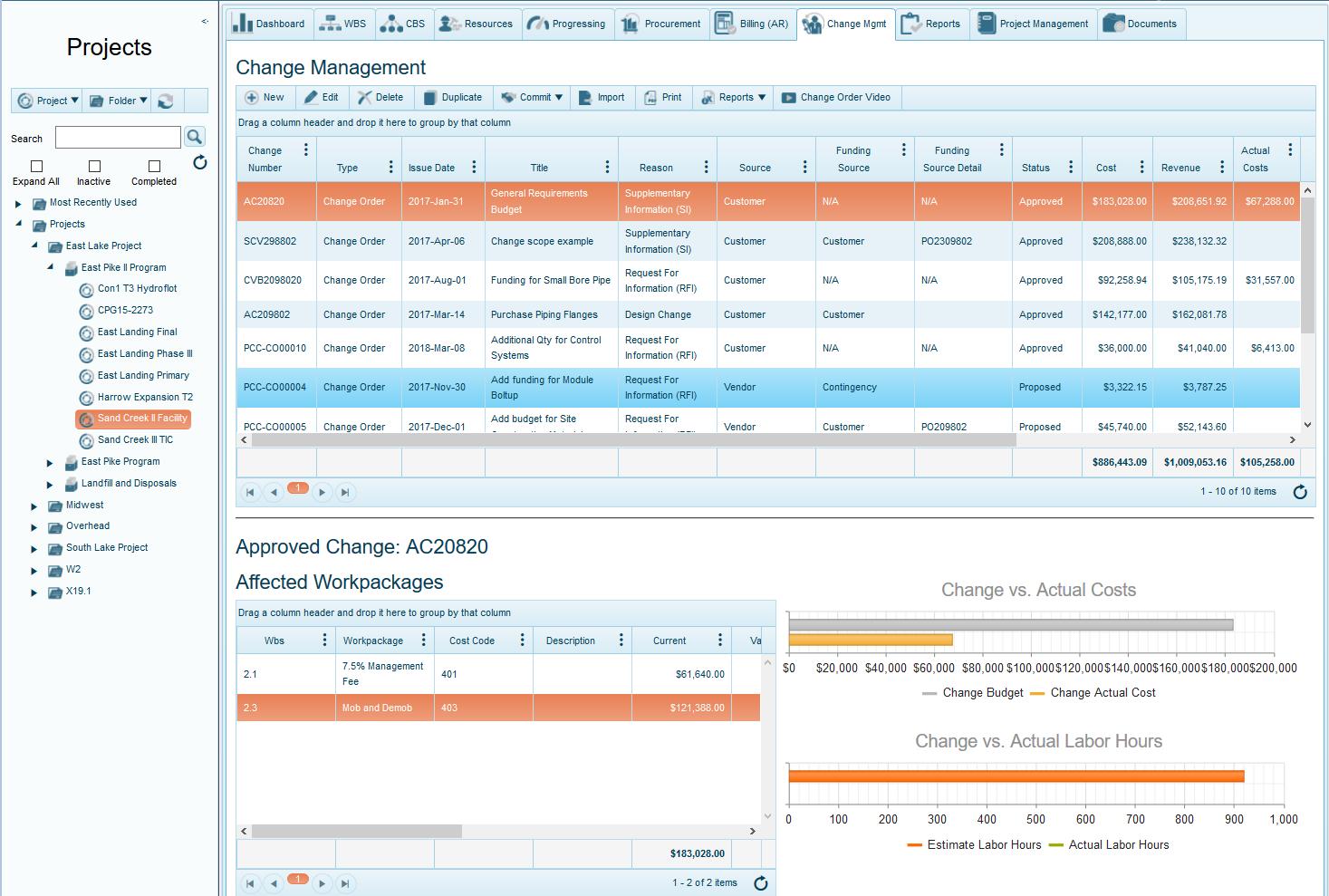 Project change order management software