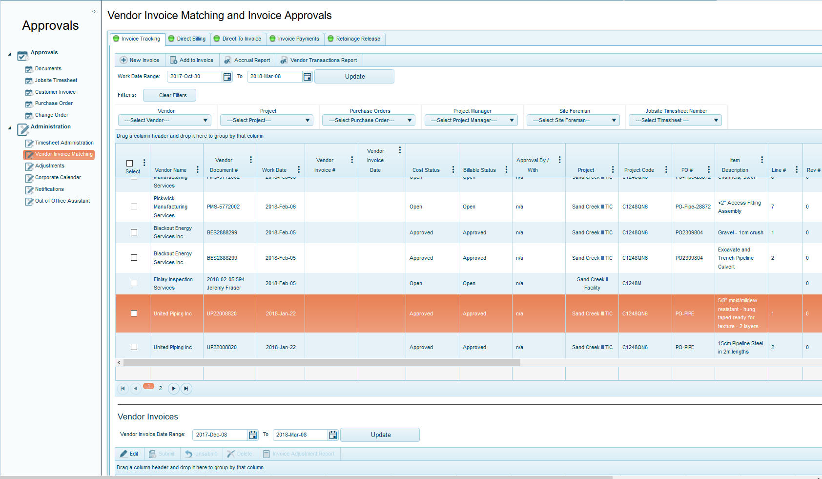 Vendor Invoice Matching and Approval