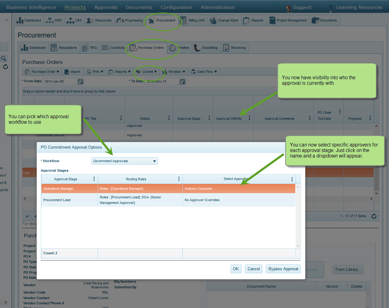 Pick purchase order approval workflow and approvers